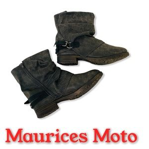 Maurices Camille Hooded Moto Ankle Boots 1…